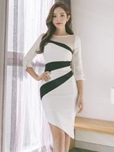 Asym 3/4 Sleeve Women's Bodycon Dress