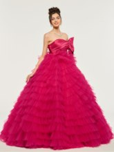 Strapless Bowknot Tiered Ball Gown Quinceanera Dress