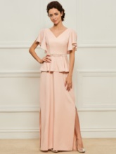 Ruffles Sleeves Beaded Split-Side Mother of the Bride Dress