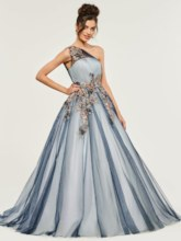 One-Shoulder Appliques Lace Quinceanera Dress