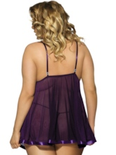 Sexy Plus Size Bowknot Decorated Babydoll