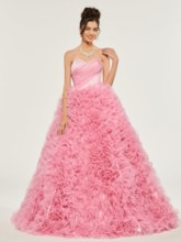 Sweetheart Cascading Ruffles Ball Gown Quinceanera Dress