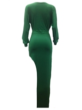 Green Ruffled V Neck Women's Maxi Dress