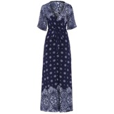 High-Waist Color Block Floral Print Women's Maxi Dress