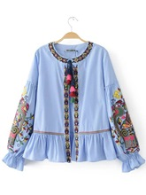 Ethnic Petal Sleeve Floral Women's Blouse