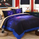 Dreamlike Purple Galaxy Printed 4-Piece Polyester Duvet Cover Sets