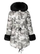 Military Hooded Faux Fur Line Parkas Women's Overcoat