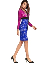 Zippered Long Sleeve Women's Lace Dress