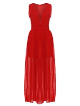 V-Neck Chiffon Vacation Women's Maxi Dress