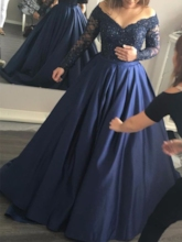A-Line Long Sleeves Appliques Beading Off-the-Shoulder Evening Dress