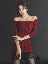 Red Striped off Shoulder Women's Bodycon Dress