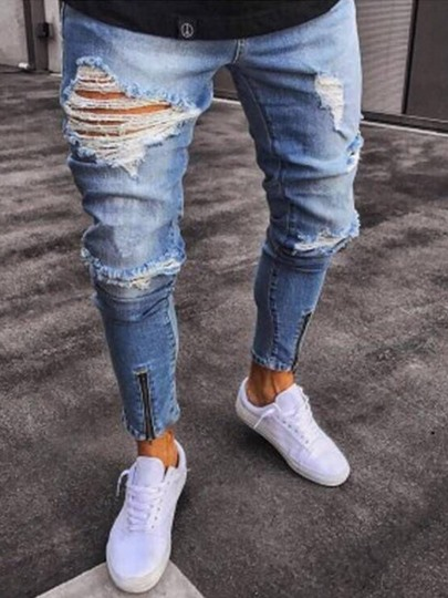 Hole Zipper Decorated Men's Jeans