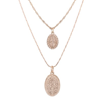 Oval Alloy Religion Madonna Double Necklace