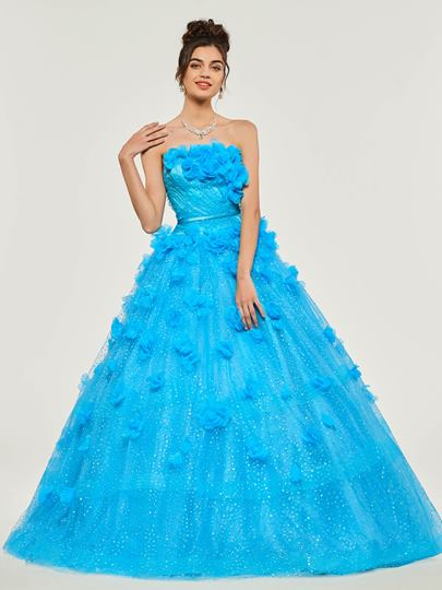 Strapless Flowers Cascading Ruffles Quinceanera Dress