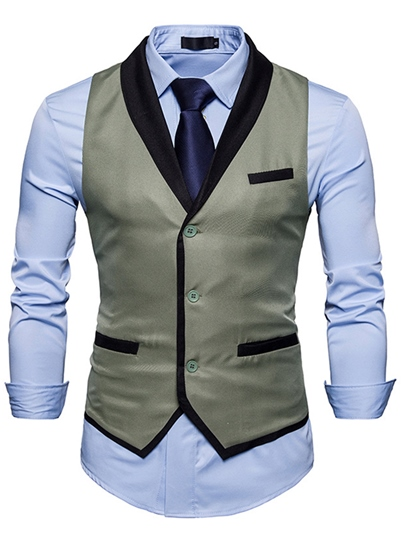 V-Neck Contrast Trim Single-Breasted Men's Vest