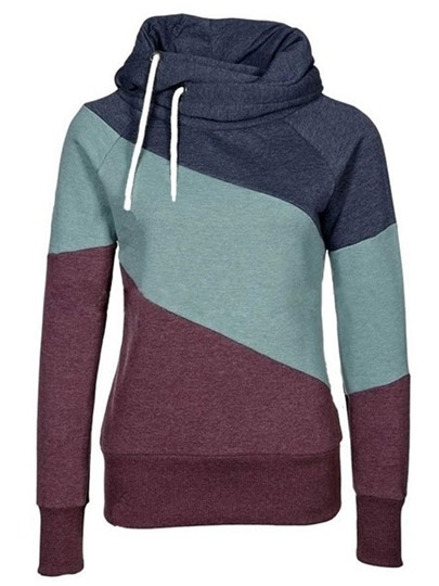 Slim Color Block Thick Women's Hoodie