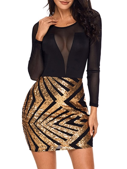See-Through Sequins Women's Party Dress