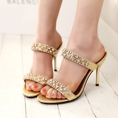 Rhinestone High Heel Sandals Slippers for Women