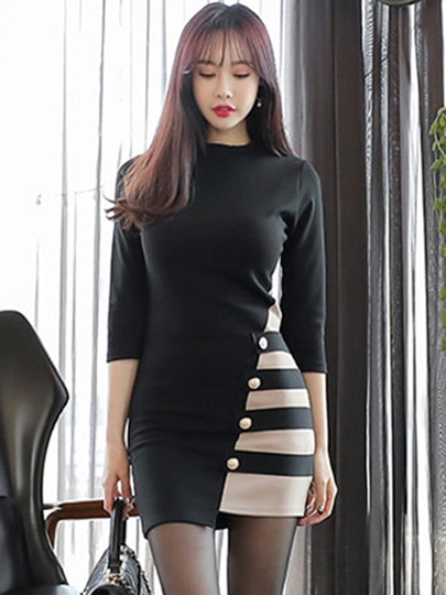 Black Striped Women's Bodycon Dress