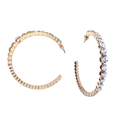 Great Circle Rhinestone Opening Earrings