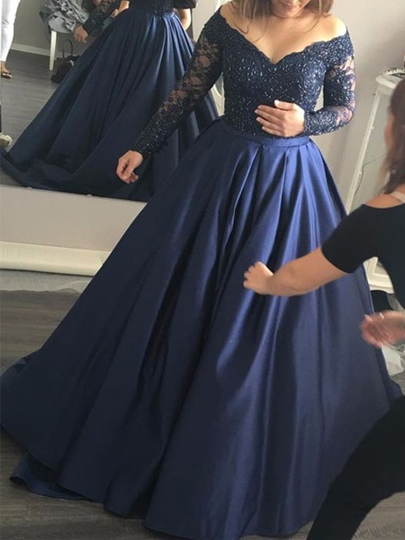A-Line Long Sleeves Appliques Beading Sweep Train Evening Dress
