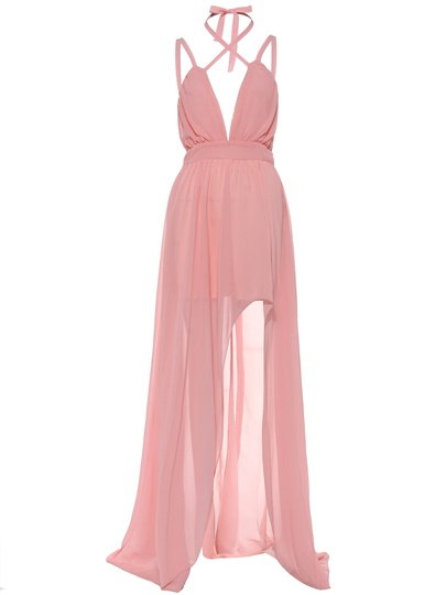 Halter High-Waist Backless Vacation Women's Maxi Dress