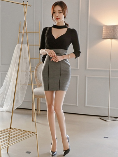 V Neck 3/4 Sleeve Women's Bodycon Dress