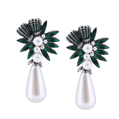 Imitation Pearl Pear Rhinestone Earrings