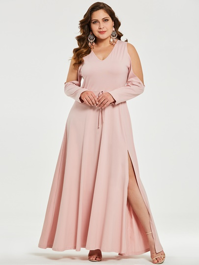 Pink Cold Shoulder Womens Maxi Dress