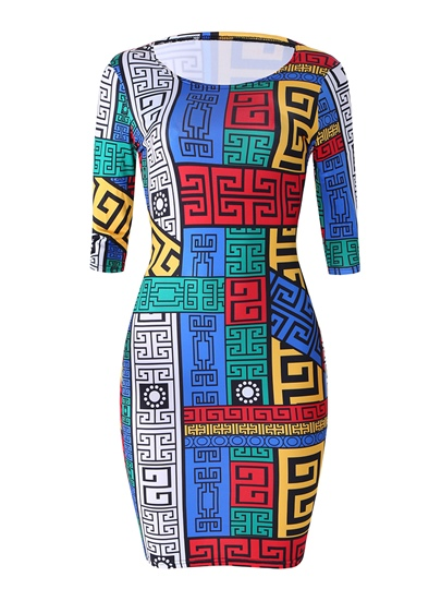 Geometrical Pattern Long Sleeve Women's Bodycon Dress