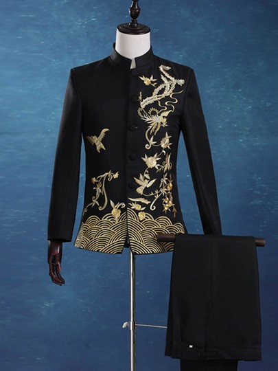 Chinese Style Stand Collar Gold Print Men's Dress Suit