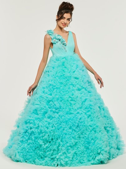 Cascading Ruffles Flowers Quinceanera Dress