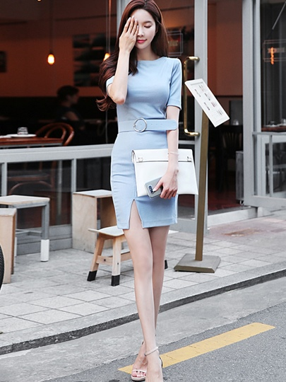 Light Blue Short Sleeve Women's Bodycon Dress with Belt