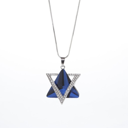 Triangle Synthetic Stones Sweater Chain Necklace
