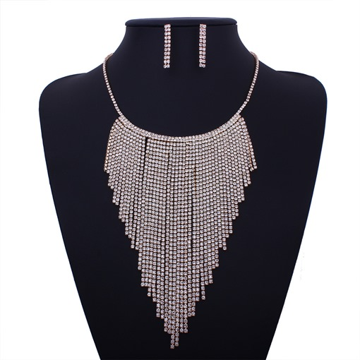 Long Chian Tassel Full Drill Jewelry Sets