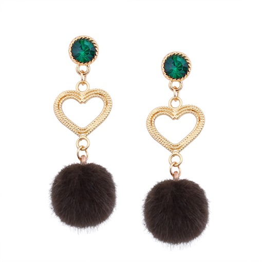 Hollow Out Heart Hairball Earrings