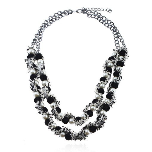 Alloy Color Blocking Imitation Pearl Necklace