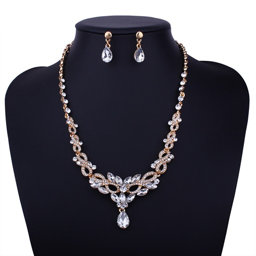 Rhinestone Golden Alloy Wedding Jewelry Sets