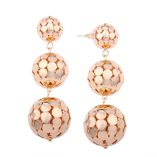 Hollow Out Metal Ball Personalized Earrings