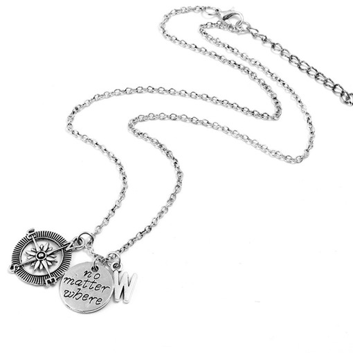 Lettering Anchor Alloy Long Chain Necklace