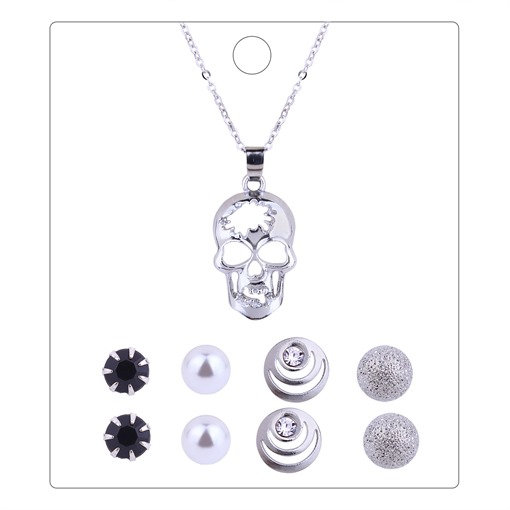 Hollow Out Skull Resin Alloy Jewelry Sets