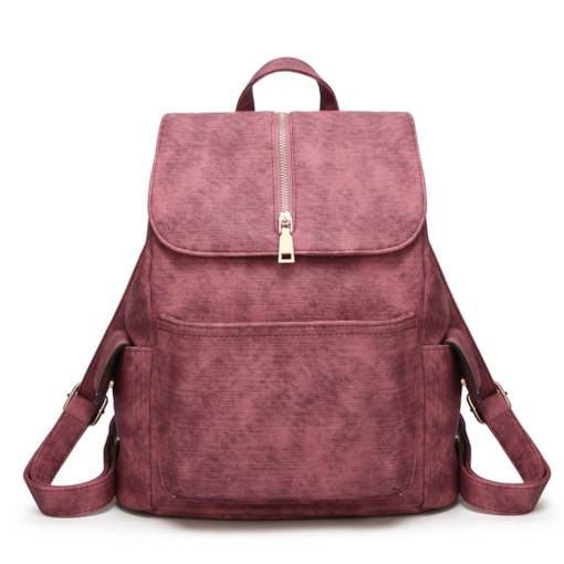 Trendy Plain Soft PU Women Backpack