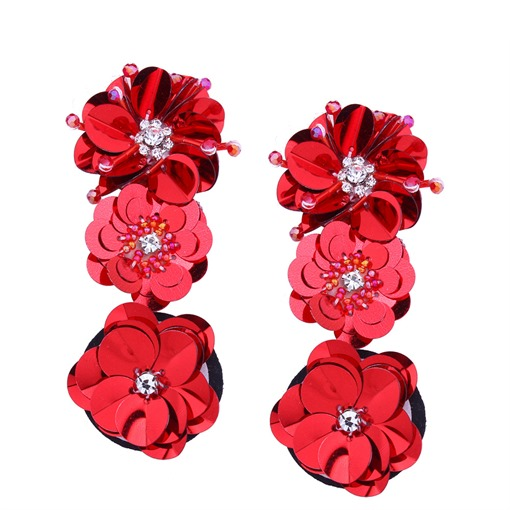 Flower Sequins Diamante Alloy Earrings