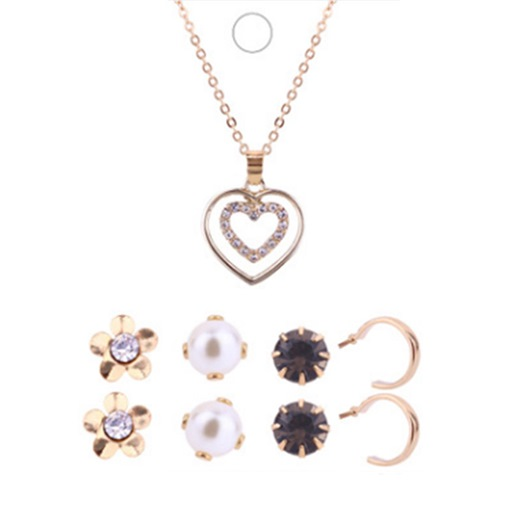 Heart Flower Alloy Imitation Pearl Jewelry Sets