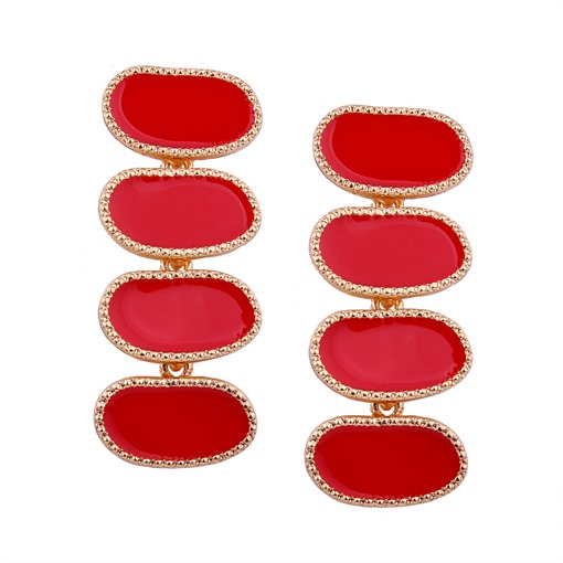 Solid Color Alloy Oval Cut Earrings