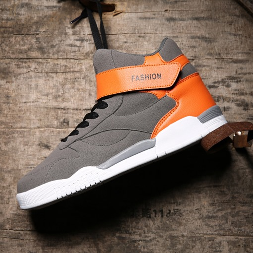 Suede Velcro Lace Up High Tops for Men