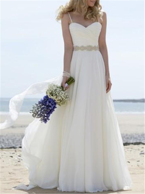 A-Line Beading Floor-Length Beach Wedding Dress 2021