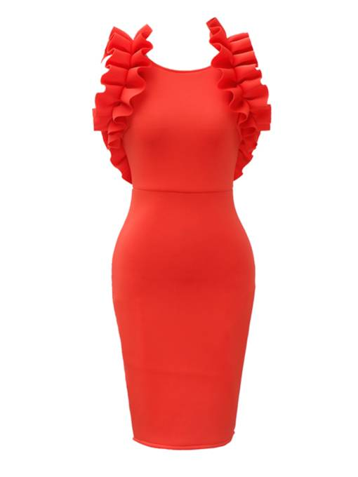 Red Falbala Backless Women's Bodycon Dress