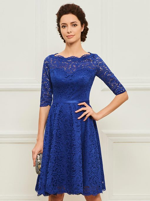 Half Sleeve Knee-Length Lace Mother Dress