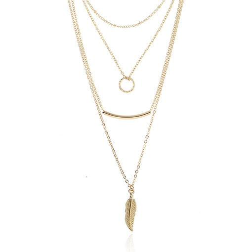 Leaf Arc Shaped Multilayer Necklace